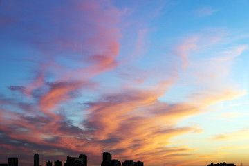 A dramatic and beautiful sky on top of the NYC skyline