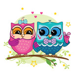 A couple of owls on a branch in the forest. Pink and blue owl with a gift box. Romance. - 178986432