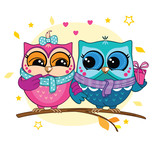 A couple of owls on a branch in the forest. Pink and blue owl with a gift box. Romance.