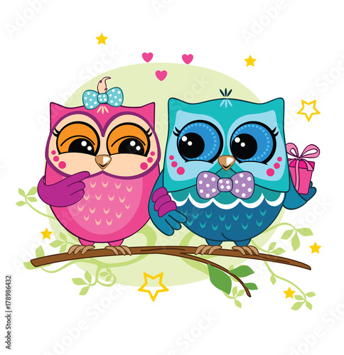 Aluminium Uilen cartoon A couple of owls on a branch in the forest. Pink and blue owl with a gift box. Romance.