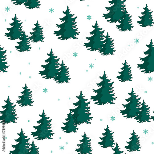 fototapeta na ścianę Seamless pattern with colorful fir trees. Vector illustration