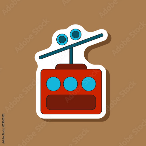 paper sticker on stylish background Cabin ski lift