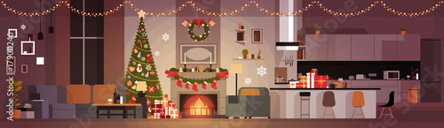Living Room Decorated For Christmas And New Year Horizontal Banner Pine Tree , Fireplace And Garlands Holidays Home Interior Flat Vector Illustration