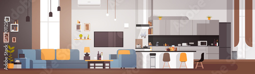 Poster Modern Apartment Interior With Living Room And Kitchen Horizontal Banner Flat Vector Illustration