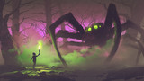dark fantasy concept showing the boy with a torch facing giant spider in mysterious forest, digital art style, illustration painting - 179020409