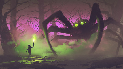 dark fantasy concept showing the boy with a torch facing giant spider in mysterious forest, digital art style, illustration painting © grandfailure