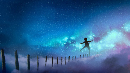 the boy balancing on wood sticks against the Milky Way with many stars, digital art style, illustration painting © grandfailure