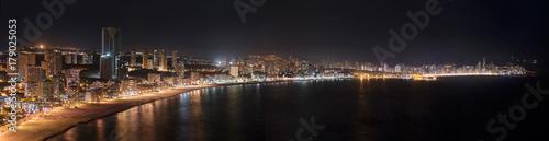 Night Panorama of Benidorm city skyline, in Alicante province, Spain.
