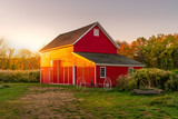 Old Red Barn At Sunset - 179025217