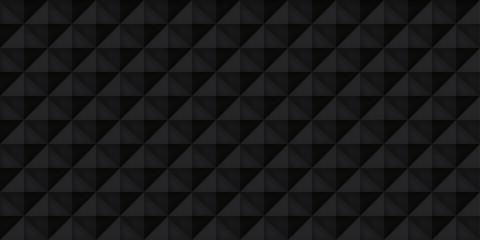 Volume black realistic texture, cubes, gray 3d geometric pattern, design vector dark background