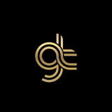 Initial lowercase letter gt, linked outline rounded logo, elegant golden color on black background