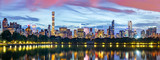 New York City panorama. Jacqueline Kennedy Onassis Reservoir reflects the midtown skyline in Central Park. - 179037057