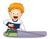 Kid Boy Car Acceleration Motion Illustration