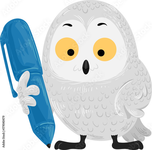 Aluminium Uilen cartoon Snowy Owl Pen Writing