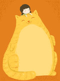 Kid Girl Fat Cat Belly Background