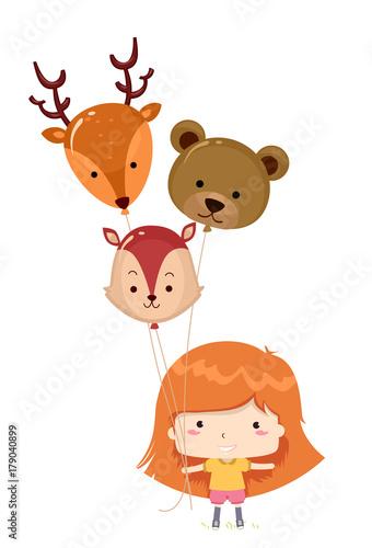 Poster Kid Girl Woodland Animals Balloons