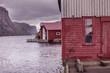 Wooden houses in norwegian fishing village