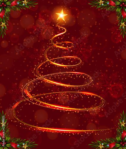 Fototapeta Christmas card template with christmas tree light