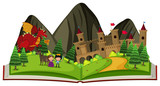 Storybook with dragon at the castle - 179052807