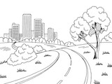 Road city graphic black white city landscape sketch illustration vector - 179054047