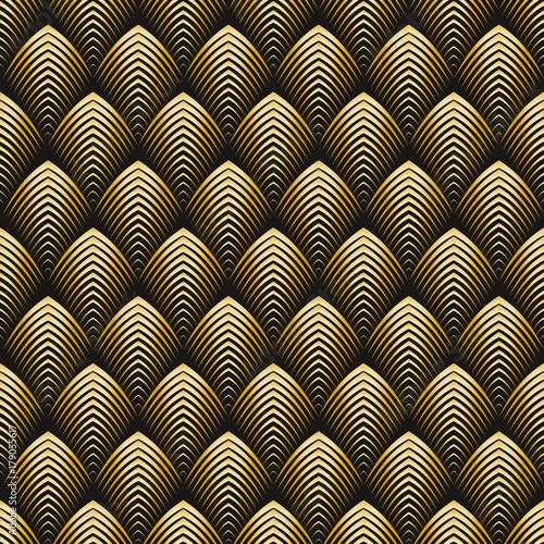 Fototapeta Art Deco style seamless pattern golden texture