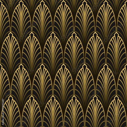 Naklejka Art Deco style seamless pattern golden texture