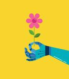 Robotic Hand  A Flower    Wall Sticker