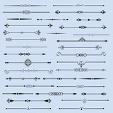 Vector set of flourishes page decor vignettes,calligraphic page dividers