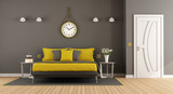 Gray and yellow modern master bedroom - 179072825