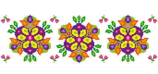 Bright floral pattern for cross-stitching. Abstract vector illustration
