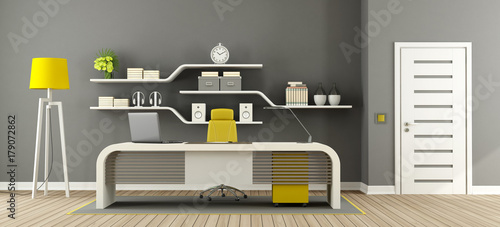 Sticker Gray ,white and yellow modern office
