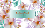Exotic Flowers design card Vector. Background for business card, brand book or posters