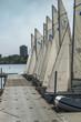 Minneapolis, Minnesota - September 19, 2017: 420 laser sailing boats in Lake Minnetonka in Minneapolis, USA