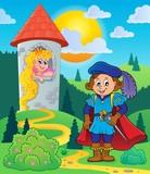 Prince near tower with princess