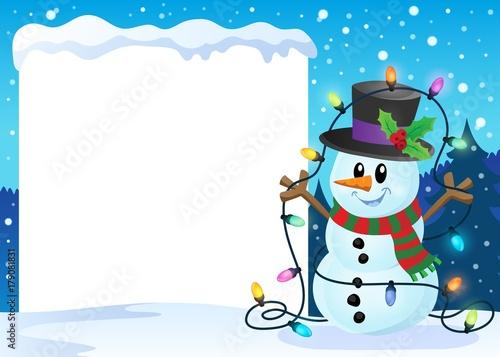 Papiers peints Enfants Snowy frame with Christmas snowman 2