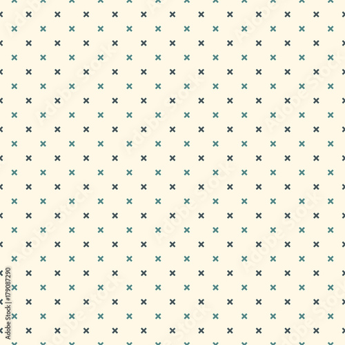 Minimalist abstract background. Simple modern print with mini crosses. Seamless pattern with geometric figures.