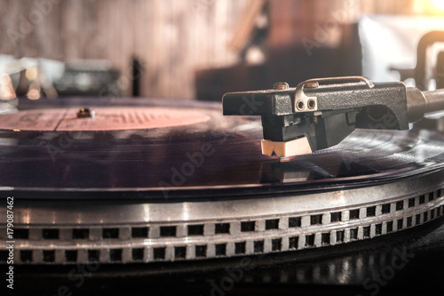 Dj turntables, mixing music, scratch club Poster
