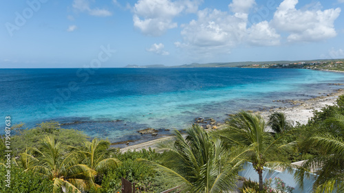 Fotobehang Tropical strand sea beach coast Bonaire island Caribbean sea