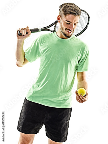 Fotobehang Tennis one caucasian man playing tennis player isolated on white background