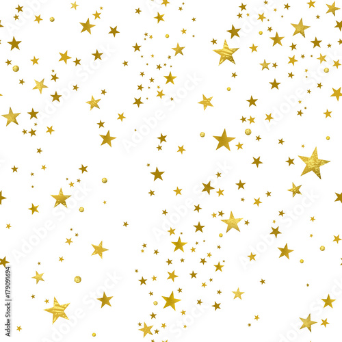 Cotton fabric Seamless Pattern of Decorative Gold Stars