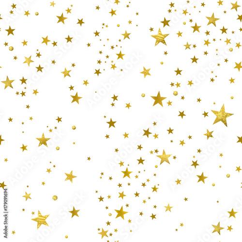 Materiał do szycia Seamless Pattern of Decorative Gold Stars