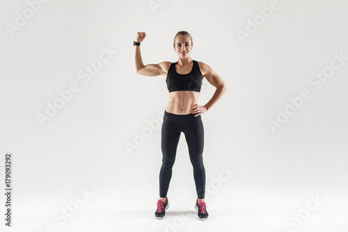 Bodybuilder, muscular girl engaged fitness Poster