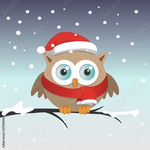Aluminium Uilen cartoon Male owl with Santa Claus hat on a branch in a snowy day