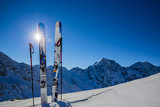 Ski in winter season, mountains and ski touring backcountry equipments on the top of snowy mountains in sunny day. South Tirol, Solda in Italy. - 179105892