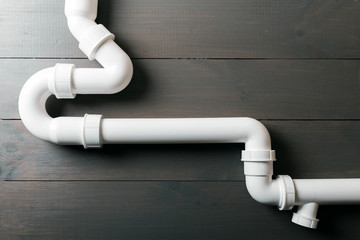 white plastic sewerage water pipes