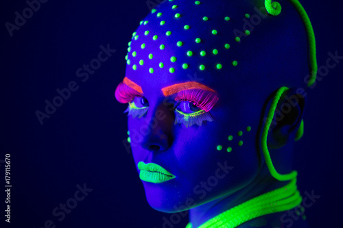 Foto op Canvas UFO neon make up