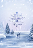 Christmas card with reindeer and snowflakes - 179117669