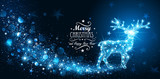 Christmas card with silhouette Magic Deer