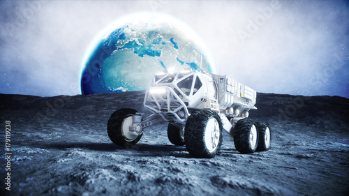 Foto op Canvas UFO Moon rover on the moon. space expedition. Earth background. 3d rendering.