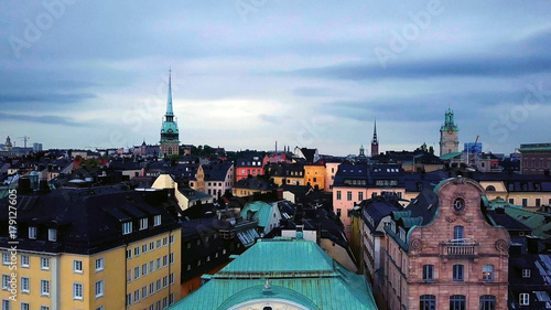 Fotobehang Stockholm Panoramic aerial view of The Old Town , Gamla Stan , Stockholm , Sweden.